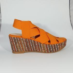NR Rapisardi Elastic Cross Band Wedge Sandal
